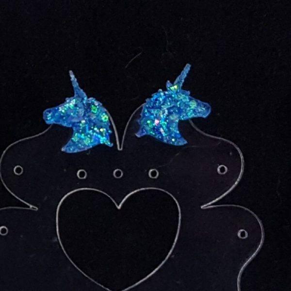Resin unicorn glitter stud earring