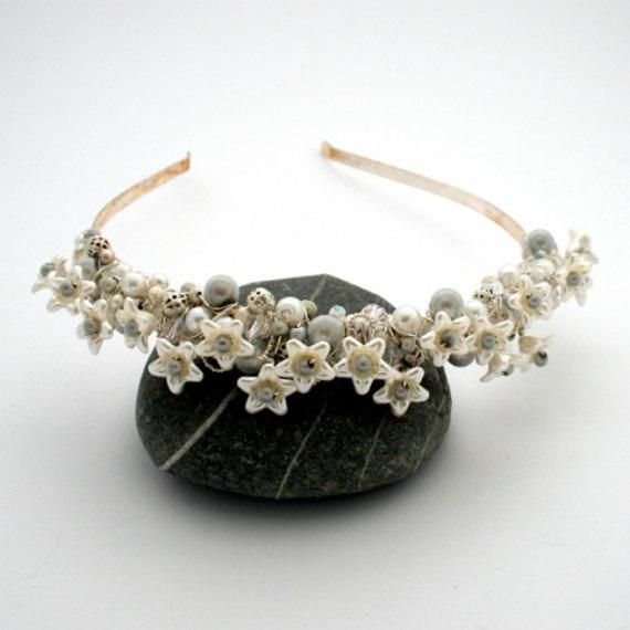 OOAK Handmade Wirework White Flower Bridal Tiara