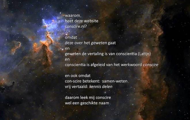 uitleg over conscire.nl staat op een afbeelding van een sterrennevel geschreven