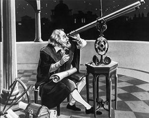 Kosmische wetenschap: Galileo Gallilei met telescoop