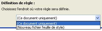 Définition de régles de style CSS