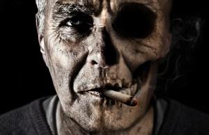 old man's face while smoking