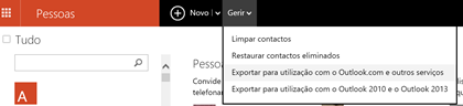 exportar contatos do hotmail