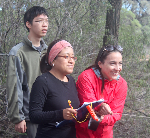 Two Ecuadorian and one Chinese student collecting data at Idalia National Park. Credit: Anne Goldizen.