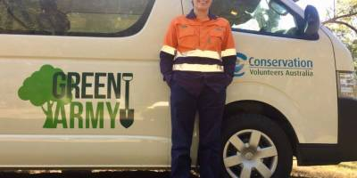 Shana at her work as a project supervisor with Conservation Volunteers Australia
