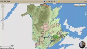 The current New Brunswick oil and gas rights holder map. Click to zoom onto an area of specific interest. Source: Service New Brunswick.