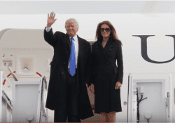 Donald Trump and Melania Trump exit Air Force One