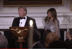 Donald Trump and Melania Trump host White House historical society dinner 2017