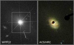 Hubble Space Telescope photograph of a quasar. At least one quasar has a lot of water vapor associated with it.