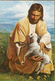 Jesus Christ holding a lamb, a symbol of Himself. The New Testament is His Letter to humanity.