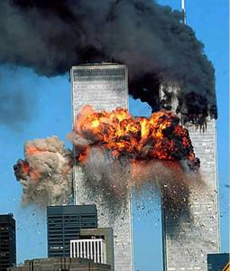 The second plane hits the South Tower. Some 9/11 conspiracy theories said that this plane did not exist.