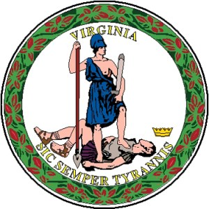 Seal of Virginia. Translation: Thus Always to Tyrants