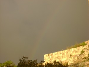 A rainbow, symbol of the covenant of God with man, appears over Jerusalem. Why does UNESCO ignore the obvious historical significance of this city?