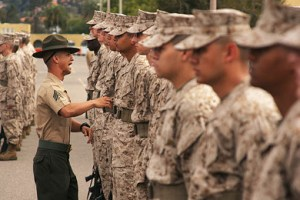 Marine recruits. How many professors appreciate the role of the military?