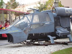 Blue Thunder mock-up at Disney-MGM Studios, 1999. Did the 1983 film presage a police state? Or the deliberate fomenting of chaos to make an excuse for one?
