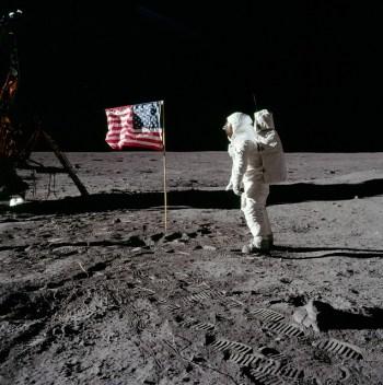 Apollo 11 LMP Buzz Aldrin salutes the flag