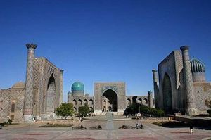 Samarkand, a key Silk Route stop, now under Muslim subjugation, with little trace of its original culture.