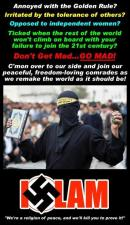 What a Jihad recruitment poster would look like if they were honest about the rage and hate they bear toward anything non-Muslim. (Does that include mass rape as well?) This is the true face of the Muslim faith, and disqualifies it as a religion. Words like islamophobia will not change that. No room for moderates here. It turned Europe into Eurabia. This is World War III. It also captures the spirit of sedition in prominent American Muslims. not only sedition, but also barbarism - refusing to recognize anyone else as human. Take offense at this! Considering this attitude, intolerance of Arabs by Jewish residents of Israel has a sound warrant. The more reason, by the way, never to tolerate it. One does not tolerate the intolerable. (And by the way: radicalization always happens between two people. No one self-radicalizes.)