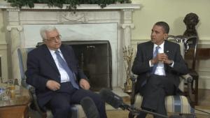 Mahmoud Abbas enjoys our alien President's ear.