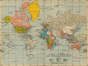 A measure of Western civilization at its height: colonial possessions and trade routes in 1910