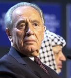 Shimon Peres and Palestinian figure (and PLO founder) Yasser Arafat on stage together in 2001. Peres is only one in a long line of cynical Israeli Prime Ministers. And possibly deluded ones, thinking peace is even possible between Israel and Islam.