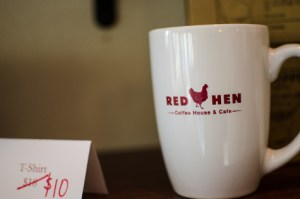 A coffee mug from the Red Hen chain. Reason for cautious optimism: despite an untoward scene at a Red Hen establishment, this President has gotten results the staff of places like this cannot ignore.