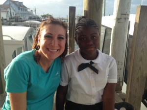 Stephanie Egger, CWFNJ, and a student at Amy Roberts Primary School