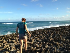 "Stephanie Egger navigating the ""iron shore"" to reach plover beach"