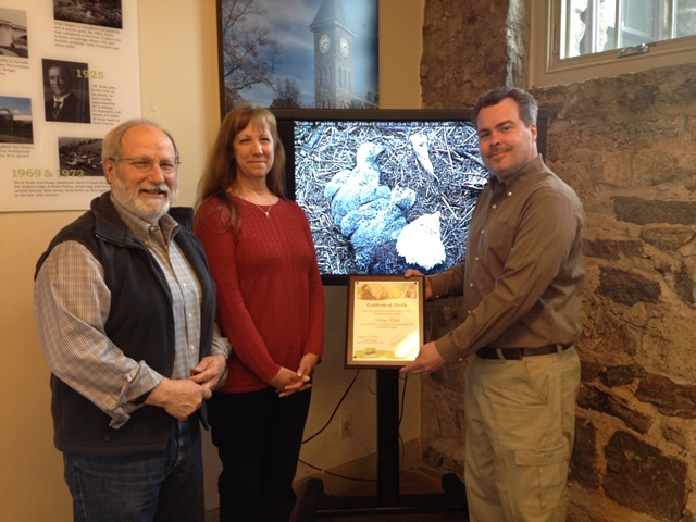 From Left to Right: Duke Farms Executive Director Michael Catania, Contest Winner Diane Cook, CWF Executive Director David Wheeler