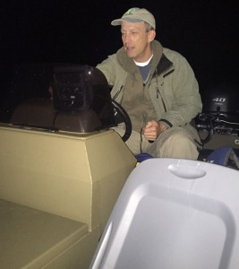 CWF field technician Alfred Breed, the intrepid nocturnal boat pilot for the Black Rail survey project.  Photo courtesy of Tom Reed.