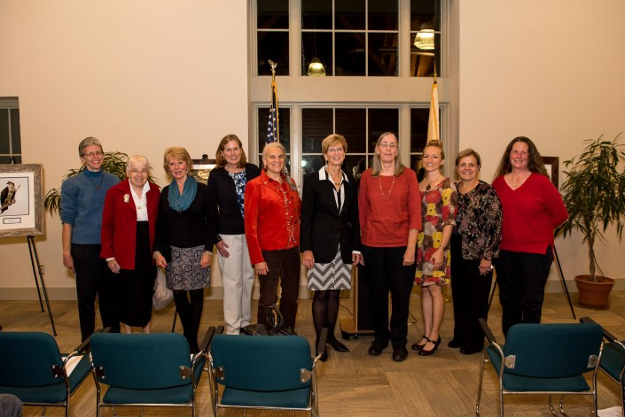The Honorable Christine Todd Whitman with past and present Women & Wildlife Award winners, representing a decade of strong female leaders in wildlife conservation. From left to right: Dr. Erica Miller, Edith Wallace, Linda Tesauro, Kathy Clark, Amy S. Greene, the Honorable Christine Todd Whitman, Pat Hamilton, MacKenzie Hall, Tanya Oznowich, and Diane Nickerson.