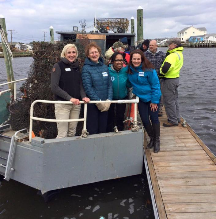 From left to right: CWF's Stephanie Egger, Covanta's Meg Morris, NFWF's Courtney McGeachy, and Covanta's Kristin Blake.