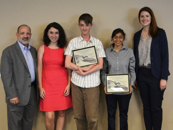 From left to right: CWF board member, PSEG executive Russ Furnari, CWF communications Manager Lindsay McNamara, first place winner Joseph Hernandez, third place winner Maya Ravichandran and PSEG Program Officer Lisa Gleason. Not pictured: second place winner Spencer Monhollen.