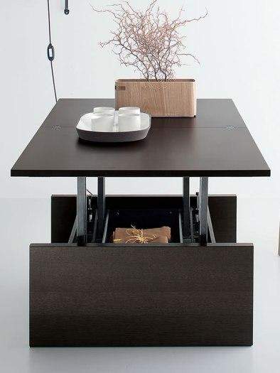 table basse relevable et transformable en bois