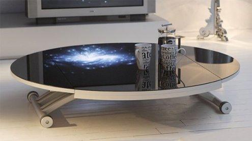 table basse relevable en verre trempé