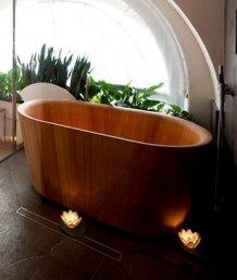 baignoire bois exotique