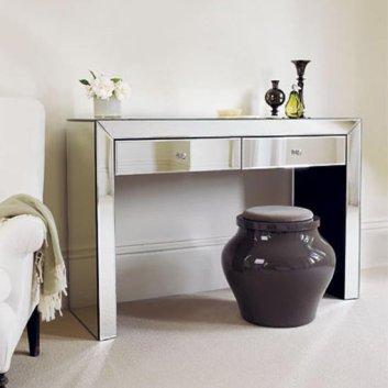 table console d'entrée en acier chromé