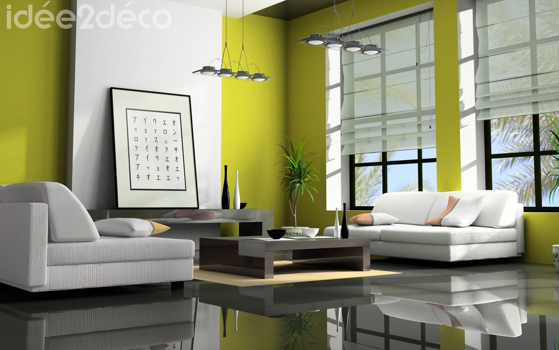 Design zen pour salon moderne jaune moutarde