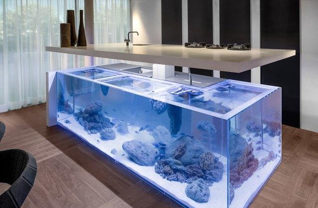 Sublimissime cette cuisine avec aquarium. On adore!