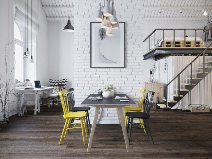 Design scandinave brique blanche