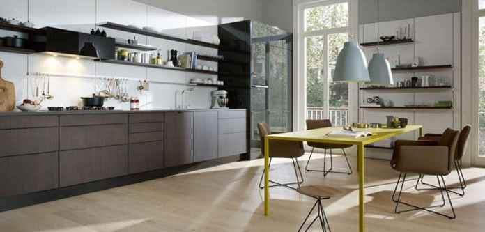 aménager une petite cuisine moderne ouvrant sur la salle à manger