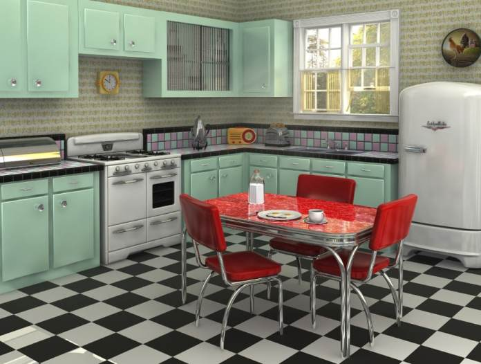 années 50 avec des façades pastel et la table à manger rouge. Source: pinshell.com