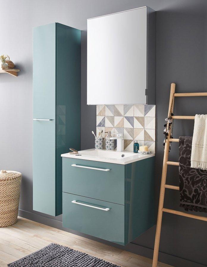 salle de bain bleu vert