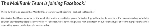 The MailRank Team is joining Facebook! - MailRank Home