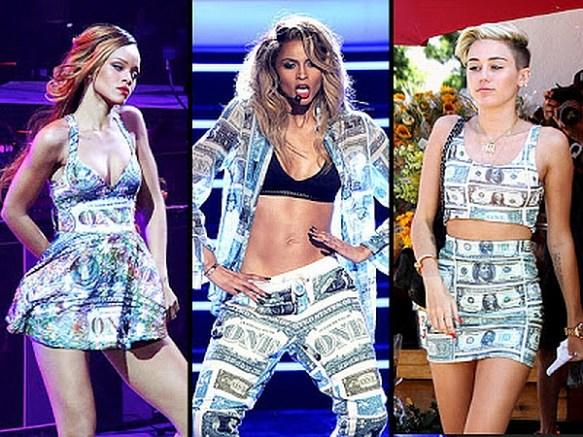 Rihanna, Miley, Ciara Dollar Bill Dresses