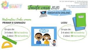 Tarife meditatii online limba romana si matematica vara 2020 Centrul Smart Constanta
