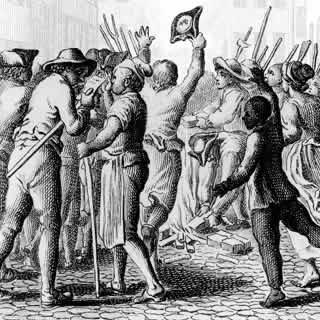Colonists rush Stamp Tax collector in protest