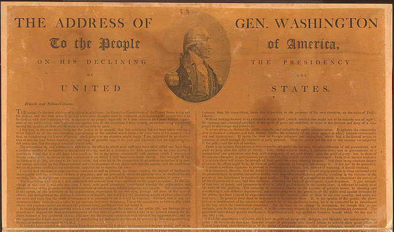 Washington's Farewell Address published in the Philadelphia Advertiser, September 19, 1796. Image from ConstitutionFacts.com