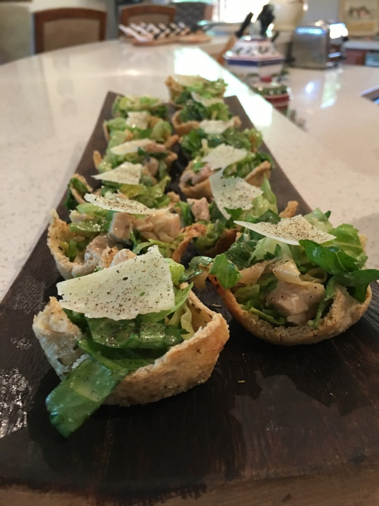 happy hour mini ceasar salad cups