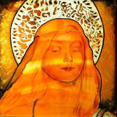 Vierge 2013 Óleo, hojilla de oro sobre tela 60 x 60 cm